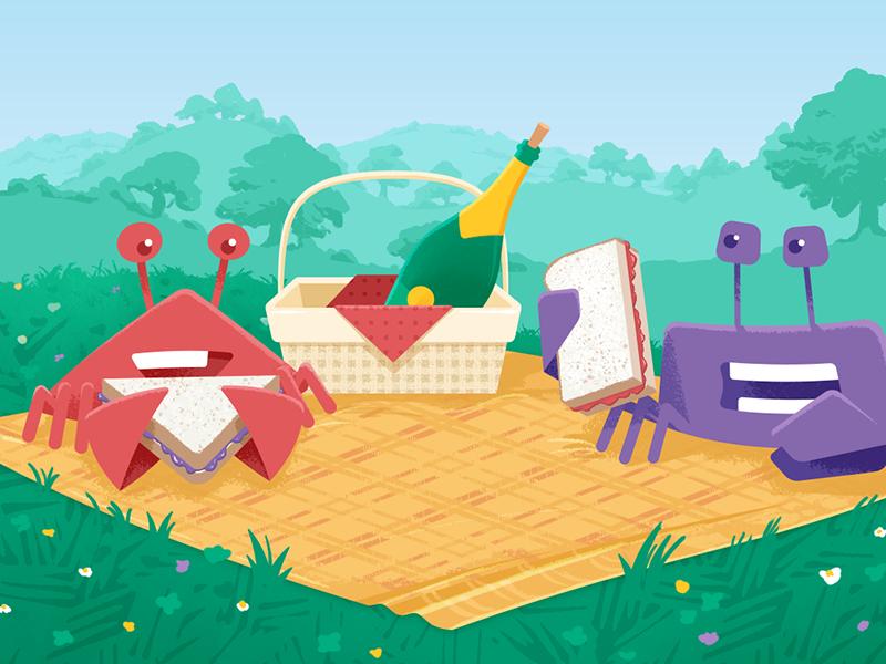 Circle wallpaper: June 2017 summer spring champagne sandwiches park picnic wallpaper phone illustration design crab circle