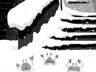 Circle wallpaper: Winter 2018 steps stoop city brownstone snow winter wallpaper phone illustration design crab circle