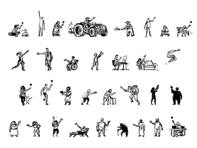 Tiny people tractor figures old young women men characters sketch people