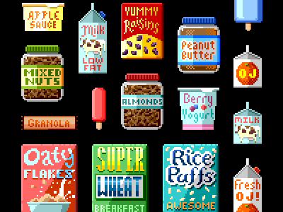 Escape from Fresh World • Pixel Foods illustration cloudkid food milk raisins popsicle carton yogurt almonds nuts granola cereal escape from greasy world fizzys lunch lab pbs kids go! pixel art retro video games apple sauce peanut butter orange juice