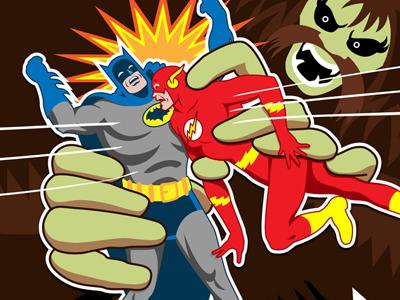 Batman & The Flash vs. Shaggy Man jla superheroes comics vector cover illustration dc justice league of america covered blog character design