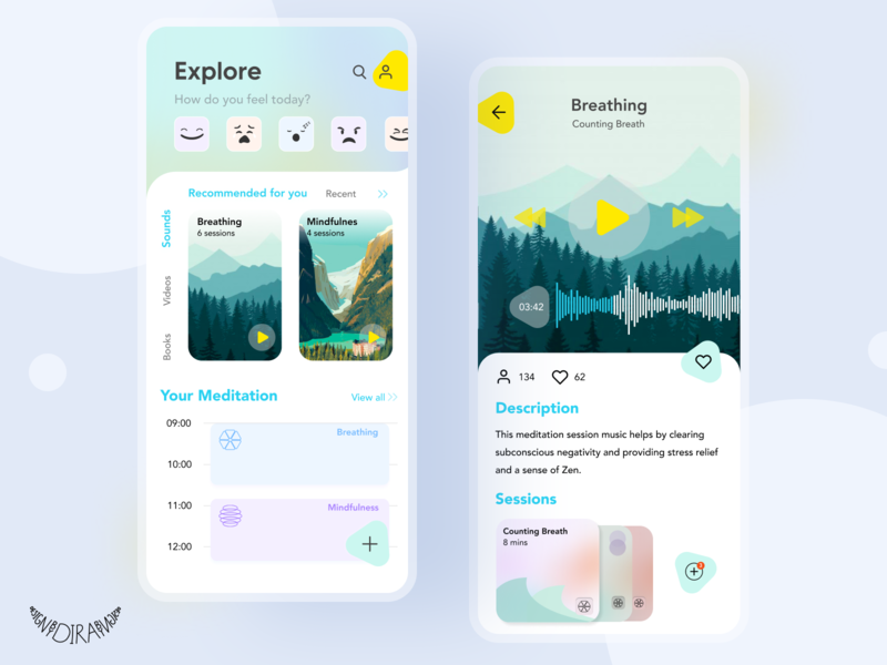 MEDITATION APP MOCKUP ui mobile appmobile application illustrator design figma app mockup app app design