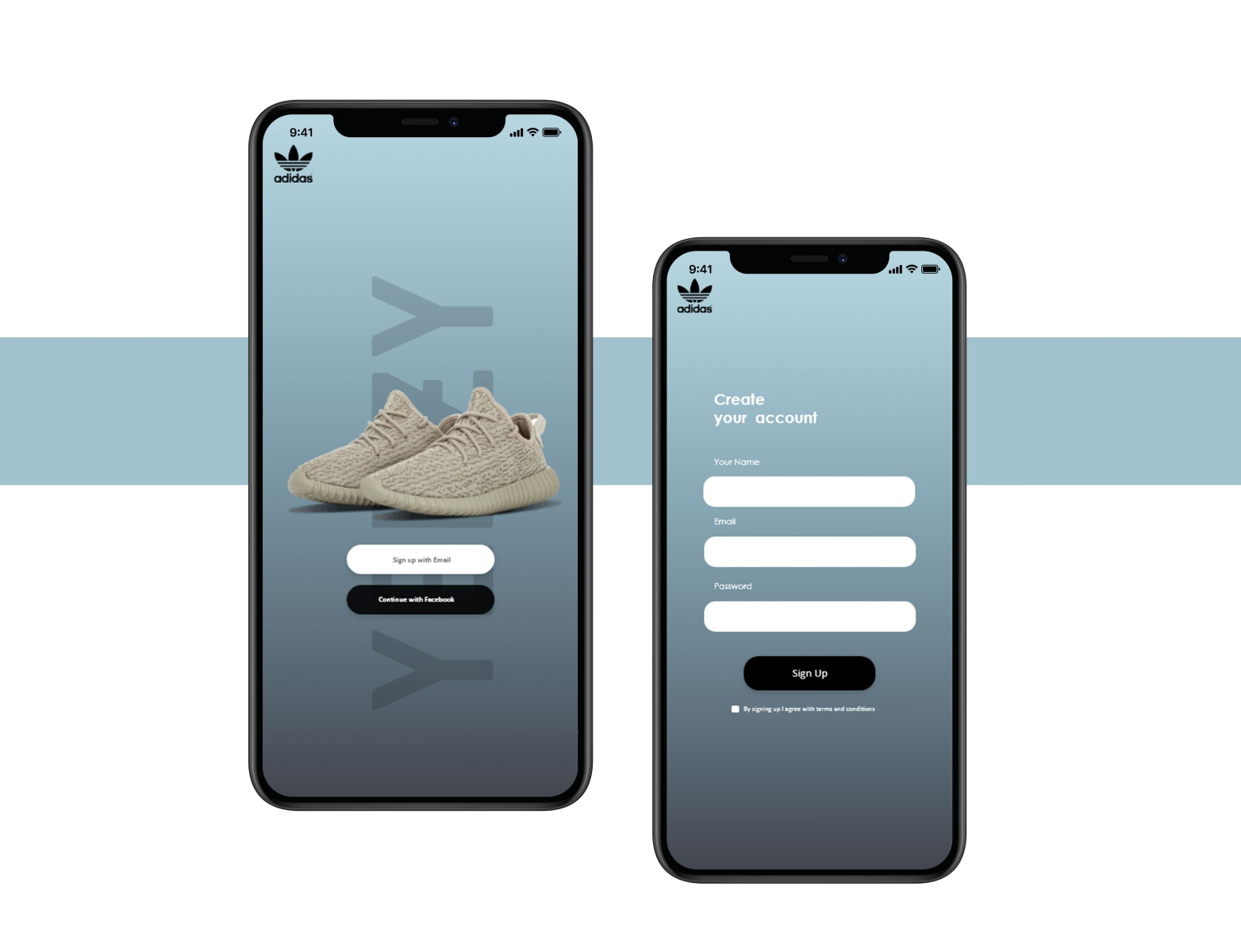 adidas yeezy Concept sign up Page by