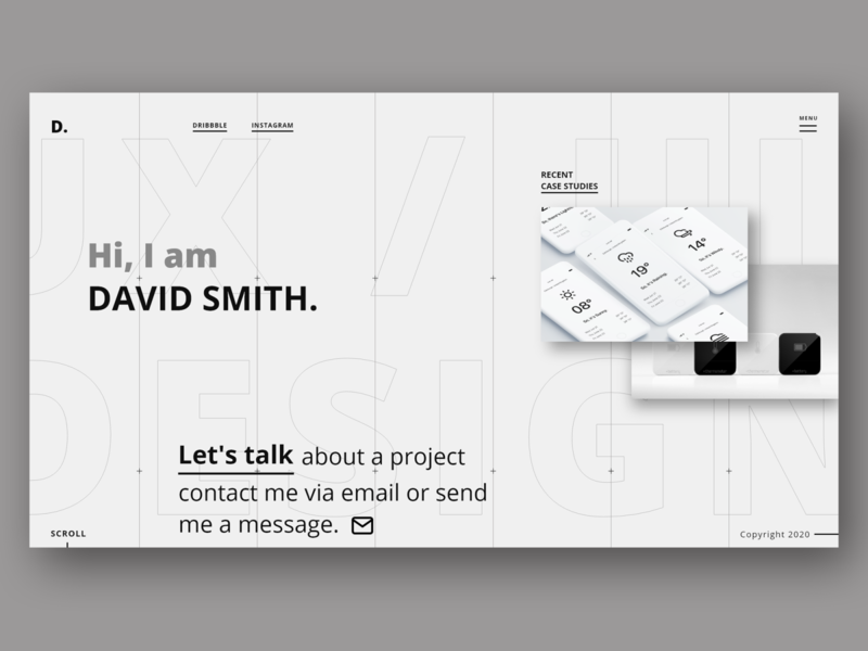 David Smith - UI UX Designer ui designer ui design web development typography minimal minimalist website design web portfolio web designer web design ux landing page website photoshop branding logo ui uiux design