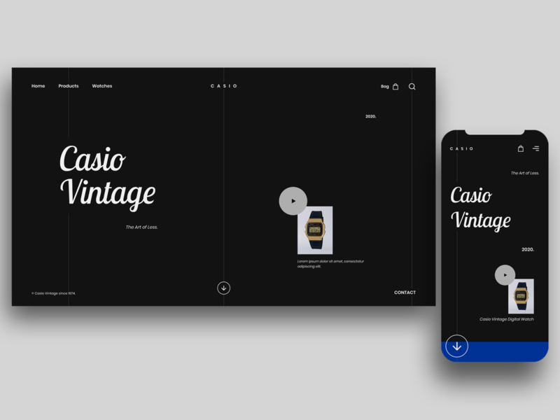 Casio Vintage Watches uiux web designer ux design ui design ecommerce mobile app user experience user interface web typography website mobile ui app landing page dribbble minimal web design design ux ui