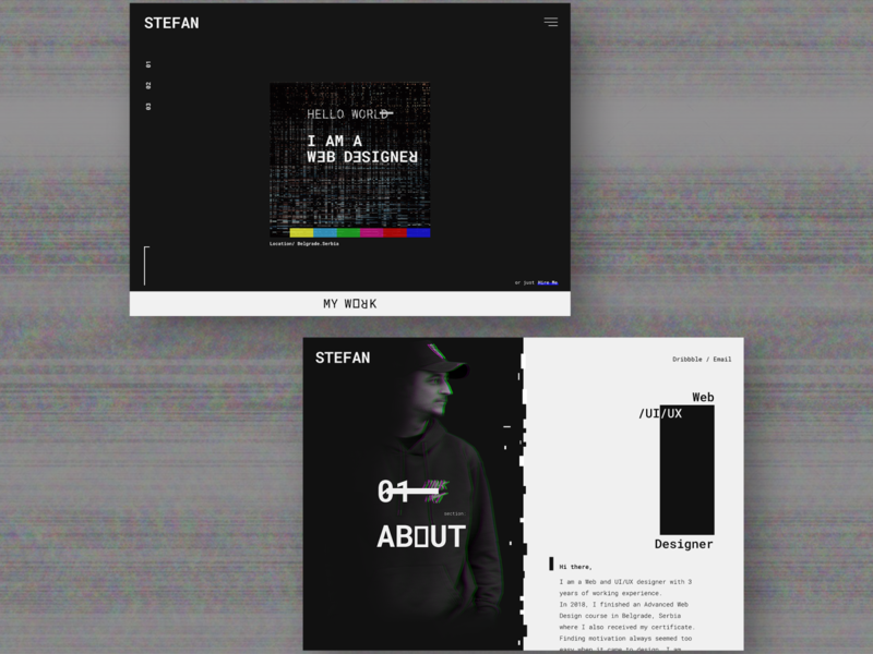 Glitch concept portfolio portfolio website concept ux design ui design figma adobe photoshop glitch effect concept user experience user interface minimal web typography glitch landing page website web design ux ui design