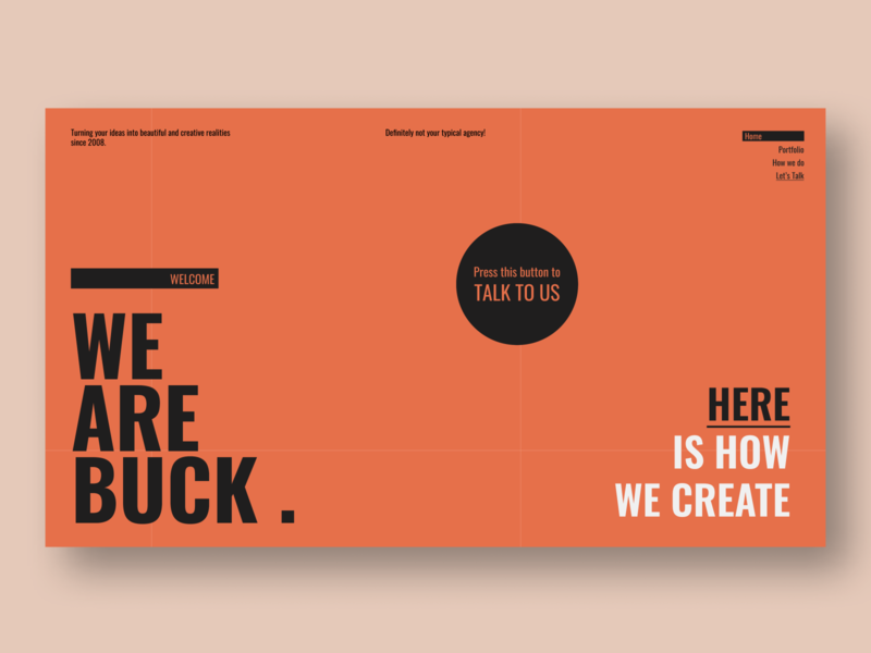 BUCK . - Creative agency landing page dribbble figma layout creative agency agency website portfolio ux design ui design business agency creative website minimal typography web landing page web design ux ui design