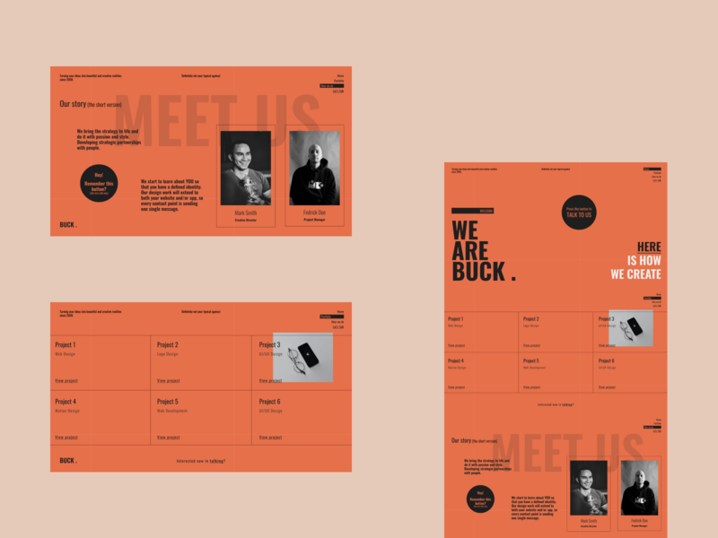 BUCK . concept creative design layout flat ux design ui design website landing page ux ui business brand typography minimal web design agency creative agency creative web design