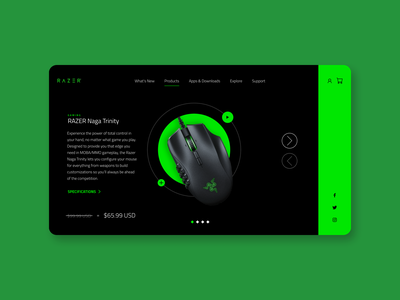 RAZER Mouse product page product page ux design ui design website user experience user inteface concept minimal web typography landing page ux ui web design brand gaming logo product gaming mouse razer