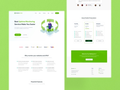Foreveruptime - Website Monitoring Landing Page ux graphic design blog design landing page branding ui
