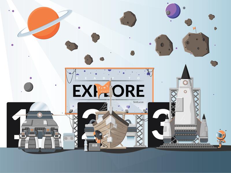 SintLucas   Alumni   Visual Design vector student spaceship space 2d animation visual design animation design illustration