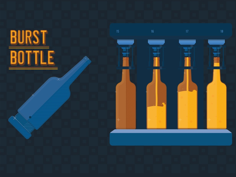 Burst bottle   Illustration drinks bottles 2d animation animation visual design vector illustration