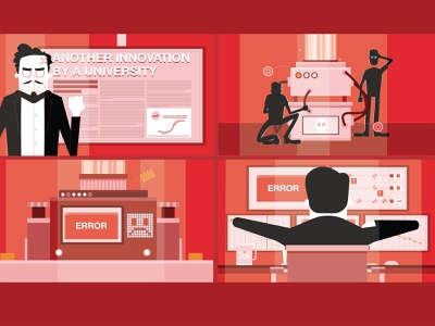 Introducing I-MECH | Visual Design explainer animation explainer video split screen characters red 2d visual design vector illustration animation 2d animation