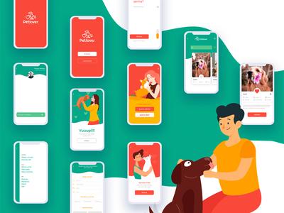 App Petlover flat uiux apple mobile app interactions illustration register form splash interaction animated smart animate animation animação mobile aplicativo adoção adoption dog pet