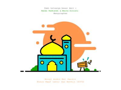 Idulfitri idul fitri sunset bedug mosque ramadhan card greeting ilustration lebaran
