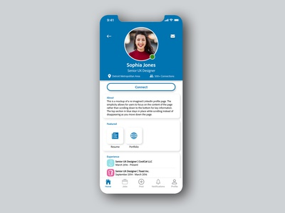 Daily UI 006 - User Profile app redesign user profile profile linkedin daily ui 006 006 app design ui daily ui challenge daily ui dailyuichallenge dailyui