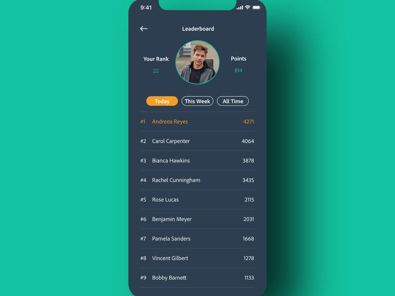 """Daily UI - 019 """"Leaderboard"""" leaderboard 019 daily ui 019 app daily ui challenge design daily ui ui dailyuichallenge dailyui"""