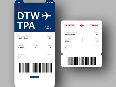 "Daily UI 024 - ""Boarding Pass"" ticket 024 boarding pass boardingpass airlines delta ios app daily ui challenge design daily ui ui dailyuichallenge dailyui"