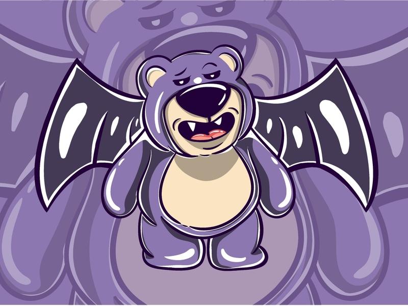 Purple Bear Monster Character modernart art design flat design funny cute kawaii flyingbear flying occult magic vectorillustration vectorart vector illustration characters character monster bear purple