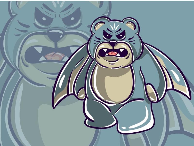 Blue Bear Monster Character concept drawing flatillustration flatdesign art funny cute kawaii designs magic occult vector illustration vector illustration design cartoon character monster bear blue