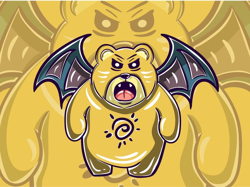 Angry Yellow Bear Monster Character flatillustration flatdesign funny cute kawaii halloween party vampire fortune magic occult vector design illustration halloween design halloween zombie character monster bear yellow