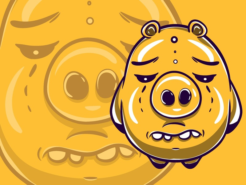 Yellow Baby Big Monster Character cartoon illustration flat illustration flatdesign vector illustration modern design chart funny cute kawaii characters cartoon vector illustration character monster pig baby yellow