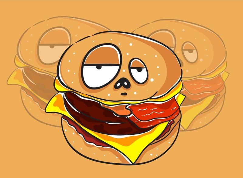 Burger Kawaii Monster Character character fortune magic kids mystic occult junkfood cartoon design art illustration vector funny character monster funny cute kawaii burger