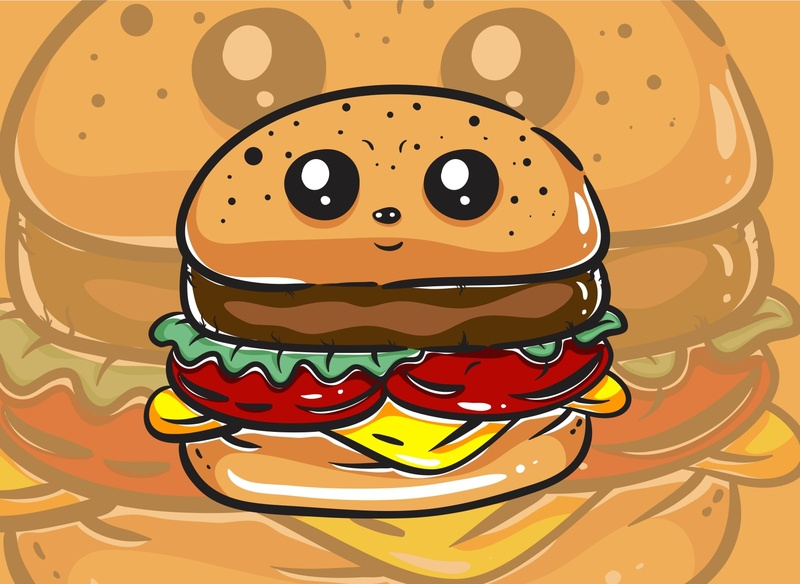 Kawaii Burger Monster Character 2 01 background sticker fortune illustration cartoon modern art cute art design magic cute funny mystic occult character monster kawaii vector illustration vector burger
