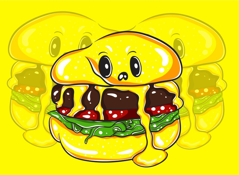 Yellow Burger Monster Character 01 occult meat vegetable fortune mystic magic art design cute funny kawaii cartoon vector illustration character monster burger yellow