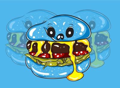 Blue Burger Monster Character 01 monster character aliens artwork flatillustration magic fortune mystic funny cute kawaii vector illustration characterdesign cart illustration vector cartoon character monster burger blue