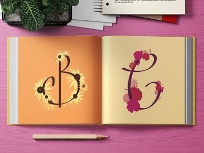 Black eyed Susan / Carnations typography illustrator flowers illustration colorful