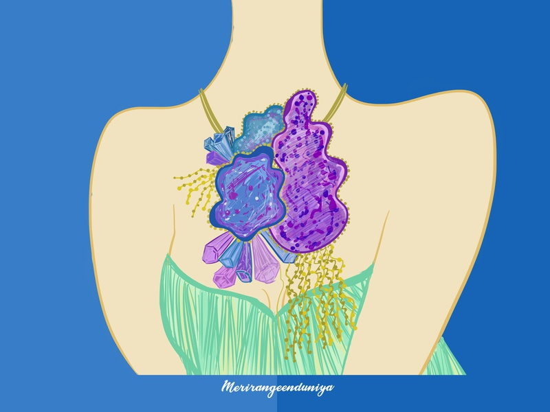 Fluorite antique jewellerydesign jewellery design illustrator illustration colorful