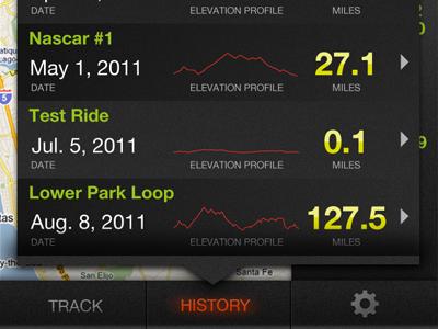 History View app iphone design ui gps graph spark data