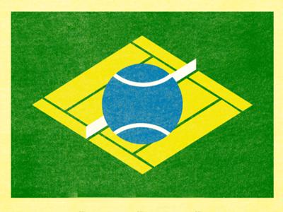 Brazil Tennis Flag brazil brasil tennis match tennis ball court flag tournament minimalist minimalism