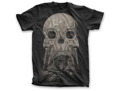Earth Rise skull illusion moon space astronaut t-shirt shirt tee earth rise public domain clothing skeleton nasa shuttle moon walk
