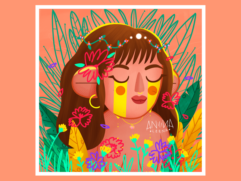 🌺🌿FLORECER🍀🌹. Autoretrato. flowergirl ilustradora womenwhodraw womenofillustration instagram illustrator digital art design vector illustration casifamosa anilinaleena