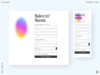 UI Challenge: #001 Sign Up sign up membership white colorful ipad design uxuidesign gradient minimal modern museum webdesign website design uiuxdesign daily ui daily 100 challenge app design uxdesign uidesign uiux