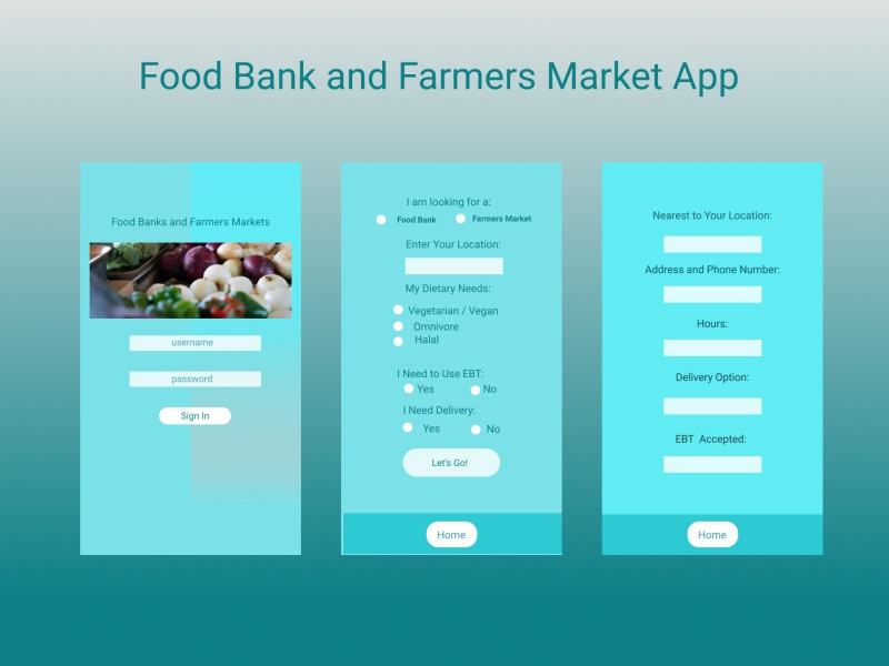Food Banks and Farmers Markets designforgood farmers market grocery app food food app ui figmadesign app ux figma