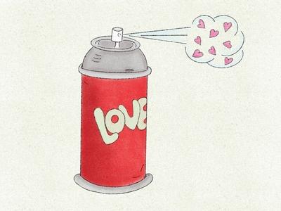 Spread Love design women in illustration spraycan spraypaint lover hearts love spread love procreate society6 artwork digital art illustration