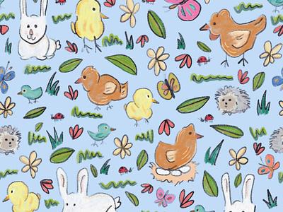 Spring Pattern flowers butterflies rabbits birds chickens spring pattern animals spring pattern digital art artwork illustration