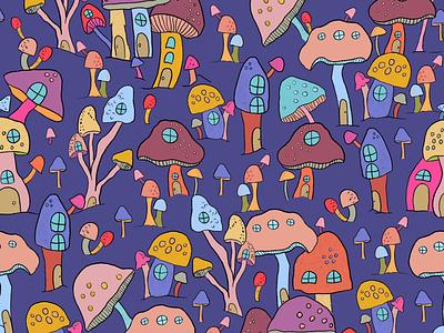 Mushroom Pattern pattern illustration drawing pattern art pattern design reto fungi mushroom pattern pattern procreate digital art artwork illustration