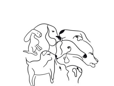 Dog Shapes black and white doodle dog lines draw everyday artwork illustration