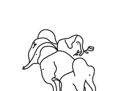 Elephant Shapes black and white shapes elephants animals artwork draw everyday illustration