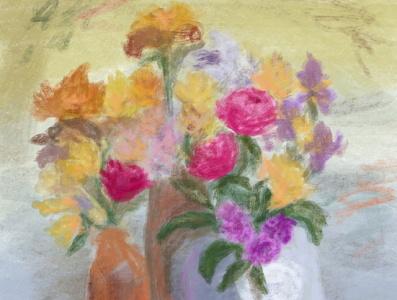 Flowers Still Life pastels flowers still life art drawing artwork illustration