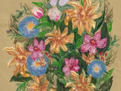 Pastel Bouquet procreate pastels flower drawing bouquet floral flowers digital art artwork illustration