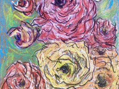 Chalky Roses flower drawing mixed media pastels paper procreate digital art artwork illustration
