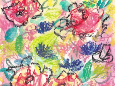 Mixed Media Flowers painting pastels flowers mixed media watercolor artwork