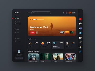 Netflix Gamified stream tv interface website dashboard app social gamify movies film netflix ux ui
