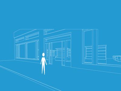 Supermarket door illustration perspective 3d illustration