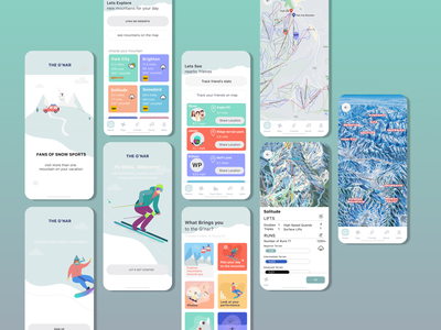 Mobile App for skiers and snowboarders mobile app design flat illustration figma ui